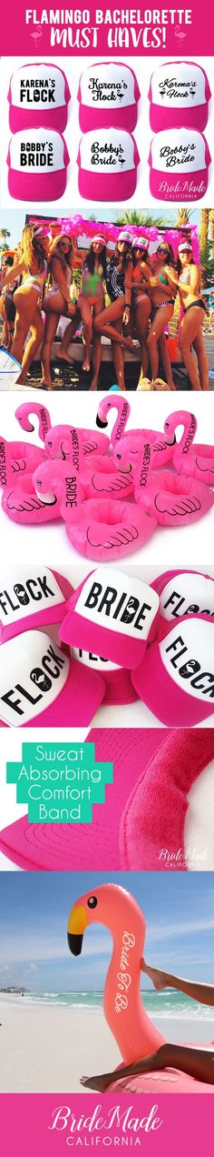BrideMadeCalifornia on Etsy. Everything you need for a Flamingo Bachelorette in one place! Flamingo Bachelorette must haves! Seen worn by Karena & Katrina from Tone It Up. Flamingo Drink Floats, Flamingo Beverage Boats, Flamingo Trucker Hats, Flock and Bride Trucker Hats, Giant Inflatable Flamingo, Personalized Flamingo Inflatable, Flamingo Pool Toy. Unique Bachelorette Party Ideas, Squad Goals, Hot Pink Trucker Hats, Etsy Shop