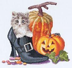 Halloween Kitten, Cross Stitch kit - Adorable!