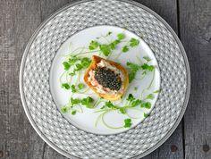 Russian Amuse-Bouche: Potato Chip, King Crab, Brains, and Caviar