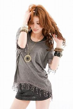 Chic Loose-Fitting Twinset Fringe Design Short Sleeves Scoop Neck Top For Women