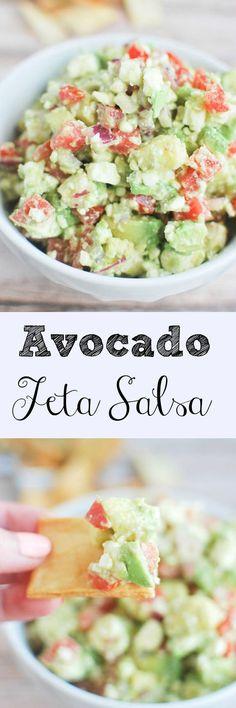 Avocado Feta Salsa - you won't believe how addictive this dip is!