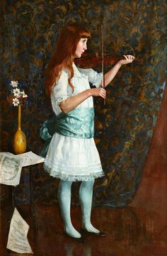 Young Girl Playing the Violin (1886). Arthur Loureiro (Portuguese, 1853-1932). Oil on canvas on board. In 1879, Loureiro moved to Paris with a scholarship to study at the École des Beaux-Arts, living in the Latin Quarter and obtaining a position in the studios of Alexandre Cabanel. He exhibited at the Salon from 1880 to 1882, along with his fellow painters from Portugal.