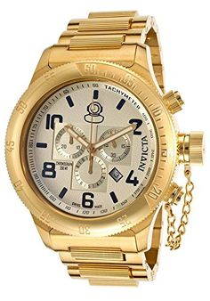 Men's Wrist Watches - 15473 Watch INVICTA Russian Diver Men Stainless Steel Gold Champagne dial Quartz * For more information, visit image link. Rolex Watches, Watches For Men, Wrist Watches, Invicta Watch Bands, Sporty Watch, Beautiful Watches, Watch Sale, Gold Watch, Chronograph