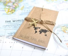 Travel journal, notebook, travel, pocket notebook, blank pages, cute notebook, graduation gift, travel diary, map travel journal, handmade by AshleyCaitlinCrafts on Etsy https://www.etsy.com/listing/221440570/travel-journal-notebook-travel-pocket
