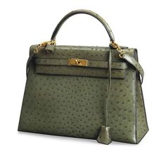 A GREEN OSTRICH 'KELLY' BAG, HERMES, CIRCA 1990, ❤ liked on Polyvore featuring bags, handbags, hermes handbags, ostrich handbags, green handbags, green bags and hermès