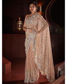 Sequin Net Nude Sari | Seema Gujral Net Saree, Pink Candy, Indian Designer Wear, Indian Bridal, Bridal Dresses, Red And Blue, Sequins, Sari, Bride