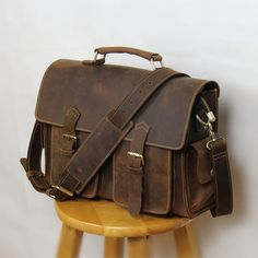 86cf366009 Vintage Handmade Crazy Horse Leather Briefcase   Messenger Satchel 13