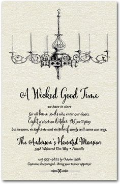 Vintage Chandelier Halloween Party Invitations are printed on shimmery quartz white paper and come with matching envelopes. Perfect for Halloween cocktail party invitations or Halloween costume party invitations. Actual Size: x Halloween Dekoration Party, Halloween Party Kostüm, Classy Halloween, Witch Party, Holidays Halloween, Halloween Quotes, Happy Halloween, Halloween 2018, Halloween Stuff