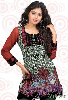 Red Paisley Printed Full Chiffon Sleeves Crepe Kurti/ Indian Tunic Top