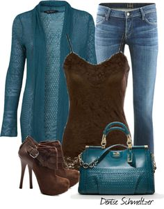 """Teal and Brown"" by denise-schmeltzer ❤ liked on Polyvore"