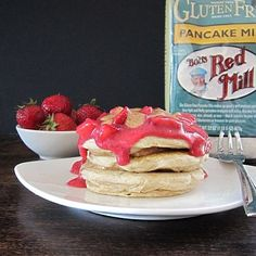 Almond Butter and Berry Coulis Pancakes (dairy-free, gluten-free and vegan optional)
