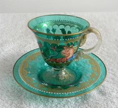Murano Venetian Art Glass Cup and Saucer Victorian Scenes and Gold Free SHIP | eBay
