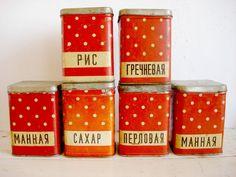 Red Polka Dot Tins / Soviet Kitchen Storage by OldMoscowVintage