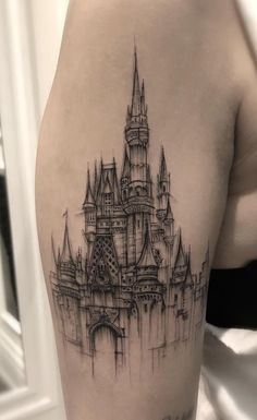 35 of the Best Architecture Tattoos or How To Have Your World on a Sleeve - KickAss Things - Disney Castle tattoo © tattoo artist Zeke Yip ❤❤❤❤❤❤ disney tattoo. arm tattoo You are - Thestral Tattoo, Disney Castle Tattoo, Tattoo Disney, Tattoo Minimaliste, Infected Tattoo, Tattoos Geometric, Watercolor Architecture, First Tattoo, Future Tattoos