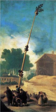 Francisco Goya (Spanish [Romanticism] The Greasy Pole, Private Collection. Francisco Goya, Spanish Painters, Spanish Artists, Art Espagnole, Religious Paintings, Museum, Oil Painting Reproductions, Classical Art, Old Master