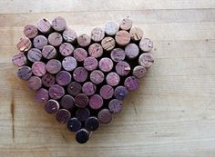 Cork Heart With Wine-Stain Color Gradient