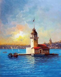 maiden tower table N Akpolat Oil Painting Pictures, Art Painting Gallery, Landscape Art, Landscape Paintings, Landscapes, Watercolor Illustration, Watercolor Paintings, Lighthouse Painting, Istanbul City