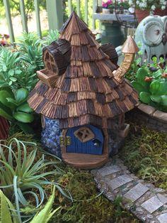"Miniature House Fairy Garden House ""Shingletown Cone Top Fairy House"" With Hinged Door, Fiddlehead Fairy Garden Accessory by BitsyNest on Etsy https://www.etsy.com/listing/399992643/miniature-house-fairy-garden-house"