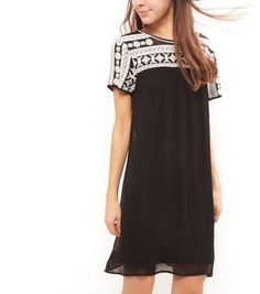 Black Bead Embroidered Panel Tunic Dress  | New Look