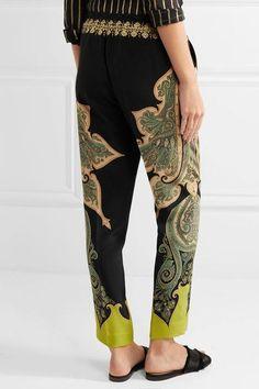 Etro - Paisley-print Silk Crepe De Chine Pants - Black - IT42
