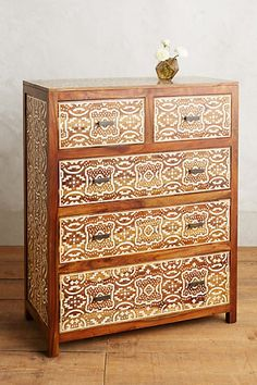 Hadia Inlay Five-Drawer Dresser #anthropologie --the feel could be replicated with stencils