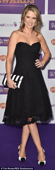 LBD: Charlotte Hawkins looked pretty as a picture in a strapless lace frock