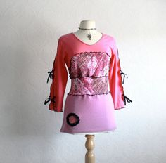 Pink Upcycled Top Women's Purple Shirt by BrokenGhostClothing, $59.00