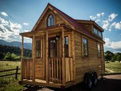 This tiny house I wheels has that true rustic cabin look and feel! as I gather ideas and concepts for my tiny house build! Tell me that's not the cutest thing ever! get your building shoes on by mytinyhousetrip Tiny House Kits, Tiny House Company, Tiny House Blog, Tiny Houses For Sale, Tiny House Living, Tiny House Plans, Tiny House Design, Tiny House On Wheels, Little Houses