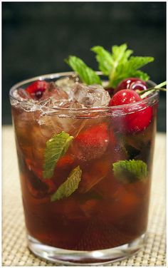 Cherry-Mint Julep with Homemade Cherry Bourbon!