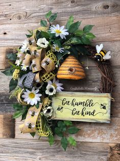 Excited to share this item from my shop: Spring Bee Farm House Rustic Yello Daisy Grapevine Wreath Door Hanger Wreath Crafts, Diy Wreath, Grapevine Wreath, Wreath Ideas, Tulle Wreath, Burlap Wreaths, Painted Wooden Signs, Summer Wreath, Spring Wreaths