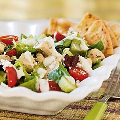 Low Calorie Greek Salad Recipe with Chicken | Weight Watchers Recipes 4 pts