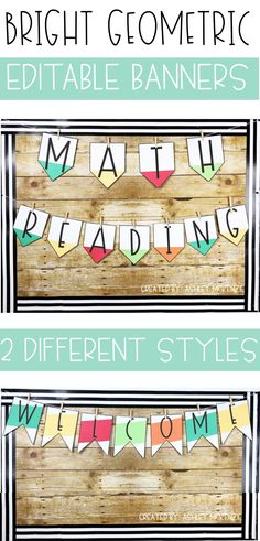You will love decorating your classroom with these bright geometric editable pennant banners! They are easy to customize for your needs. #classroomdecor #middleschoolclassroomdecor #highschoolclassroomdecor