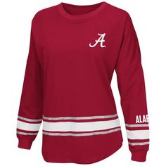 Colosseum Athletics™ Women's University of Alabama All Around Oversize Long Sleeve T-shirt (Red Dark, Size Small) - NCAA Licensed Product, NCAA Wom...