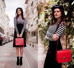 Front Row Shop Beret, Front Row Shop Skirt With Braces, Zara Crop Stripe Top, Zara Messenger Bag, Mia May Booties