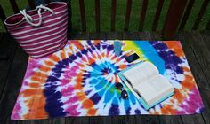 Tie dye beach towel, bath time fun, cute beach towel, yoga towel, camp towel, beachware, big beach towel, exploding rainbow, electric forest