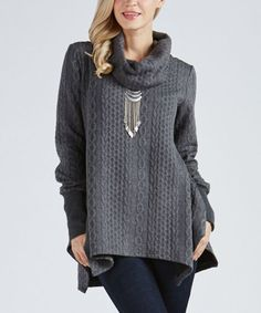Charcoal Cable-Knit Sidetail Tunic