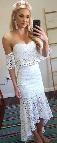 9224911f8ee Two Piece Sweetheart Short Sleeves White Lace Homecoming Prom Dress