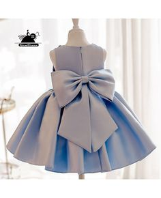 Elegant Light Blue Satin Flower Girl Dress Modern Girls Pageant Gown With Bow - reyna - Elegant Light Blue Satin Flower Girl Dress Modern Girls Pageant Gown With Bow Elegant Light Blue Satin Flower Girl Dress Modern Girls Pageant Gown With Bow African Dresses For Kids, Gowns For Girls, Frocks For Girls, Little Girl Dresses, Flower Girl Dresses, Prom Dresses, Bridesmaid Gowns, Flower Girls, Wedding Dresses