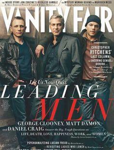 Vanity Fair cover of Daniel Craig, George Clooney, Matt Damon. Shot by Annie Leibovitz.