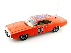 This is a highly detailed and beautifully finished die-cast metal model of the General Lee. Capable of getting the Duke boys out of trouble just as fast as they get into it, the General Lee is a hopped-up 1969 Dodge Charger. Already a hot car to begin with, Auto World released the hugely popular Authentics version of the classic General Lee. Composed of well over 100 pieces, this southern superstar has never been more detailed. Lots of moving and functional parts on this showpiece.