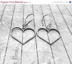On Sale Large Heart Earrings Sterling Silver by GirlBurkeStudios, $29.75