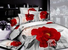 Gorgeous Light Grey and Peony Cotton Printed 4 Piece Bedding Sets (10489851) on sale, Buy Retail Price Floral Bedding Sets at Beddinginn.com