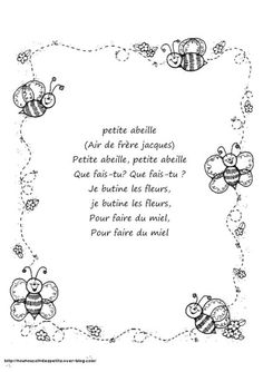 """.. Printemps .. """" les abeilles """" French Teaching Resources, Teaching French, Insect Crafts, Bug Crafts, Spring Poem, Daycare Themes, Daycare Ideas, French Poems, Core French"""