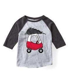 Another great find on #zulily! Athletic Heather & Black Car & Tree Raglan Tee - Toddler & Kids #zulilyfinds