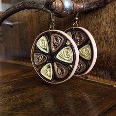 Elegant Brown & Beige Quilled Earrings