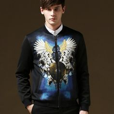 Angel wings bomber jacket men 5XL Stand collar autumn and winter wear