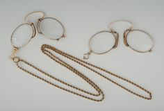 Two Pairs of  Gold Pince-Nez