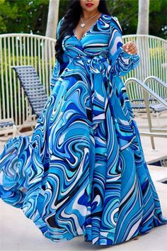 Roaso Bohemian Printed Blue Blending Floor Length Dress M Blue Long African Dresses, Latest African Fashion Dresses, Blue Chiffon Dresses, Plus Size Maxi Dresses, Chiffon Maxi Dress, Perfect Prom Dress, Floor Length Dresses, Print Chiffon, Maxi Dress With Sleeves