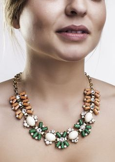 Coral and Green Statement Necklace