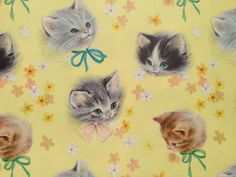 Vintage Gift Wrapping Paper Kittens in Bows Purr-fect
